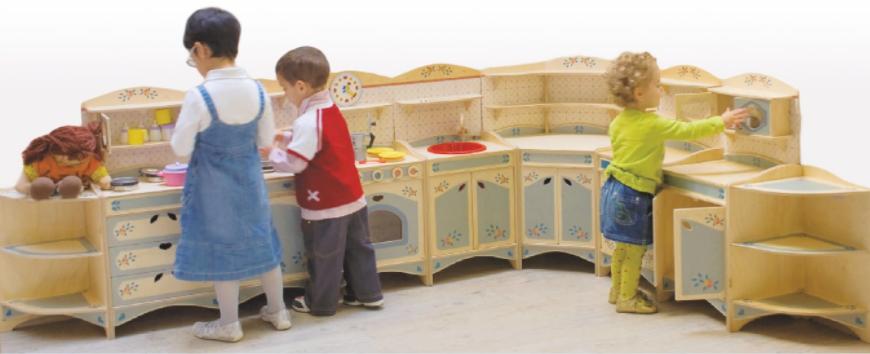 Cucina Gioco Componibile 9 pezzi in Legno di Betulla Finemente Decorato di Dida