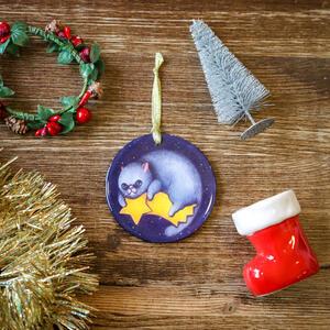 Palla di Natale gatto su cometa