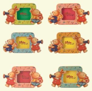 Portafoto per Bambini in set da 6 pezzi in Legno Naturale Colorato di Dida
