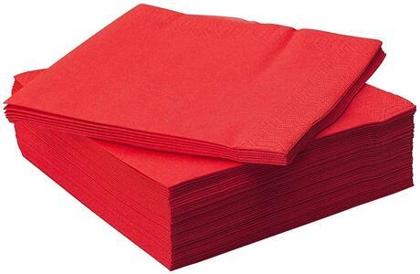 TOVAGLIOLI DI CARTA ROSSO RED 33 X 33 CONFEZIONE 150 PEZZI