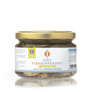 Alici Intere Biologiche Al Peperoncino,  Fish Different, 250 gr