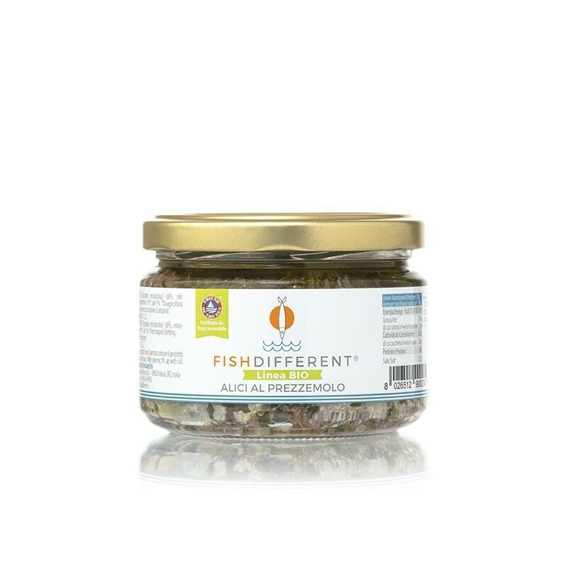 Alici Intere Biologiche Con Prezzemolo, Fish Different, 250 gr