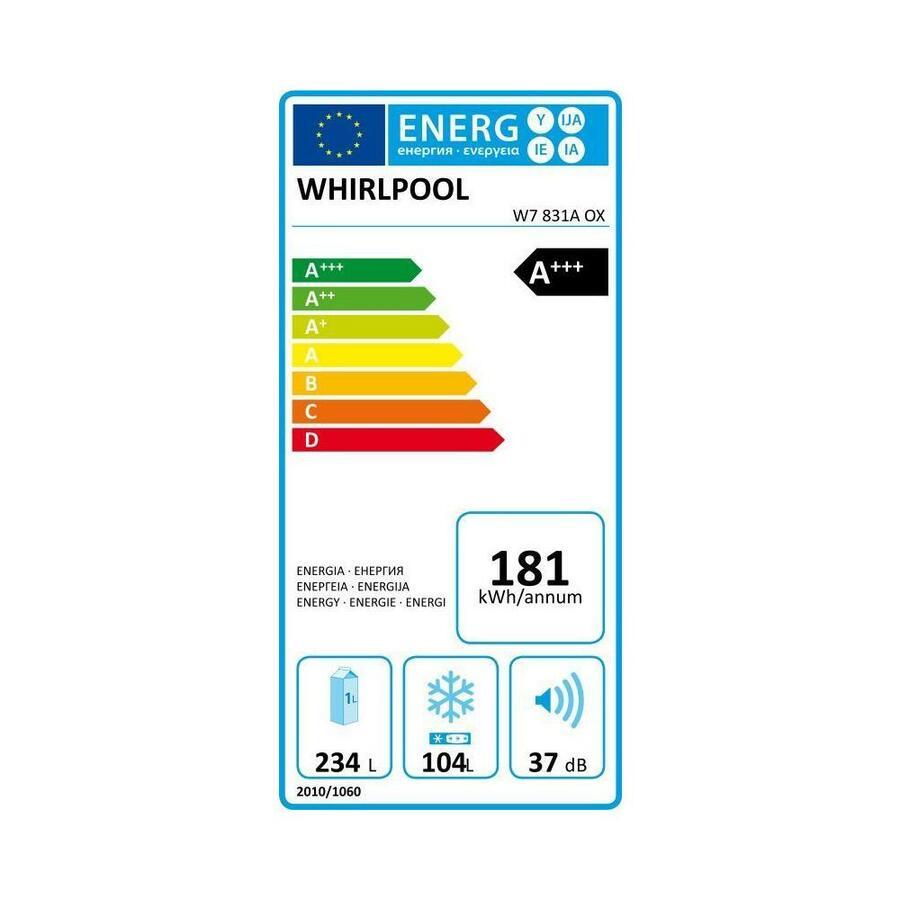 WHIRLPOOL Frigorifero Combinato W7 831A OX Total No Frost 6° Senso Classe A+++ Capacità Lorda / Netta 378/338 Litri Colore Inox