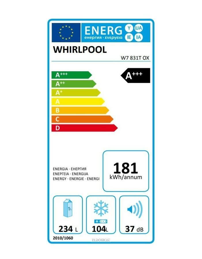 WHIRLPOOL W7831TOX Frigorifero combinato 338 Litri Classe A+++ Total No Frost colore Acciaio Inox