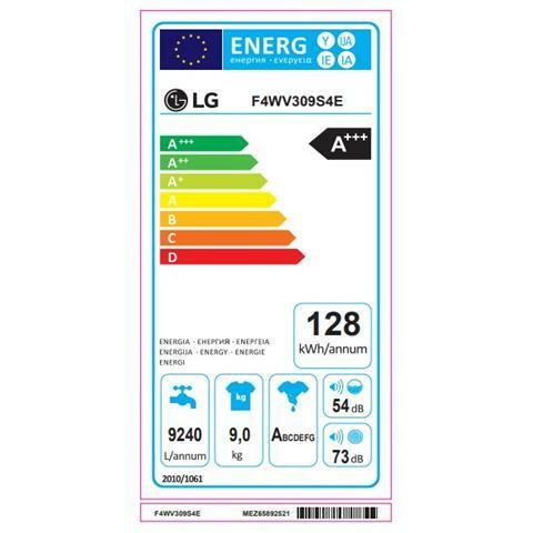 LG Lavatrice Standard F4WV309S4E 6 Motion 9 Kg Classe A+++ -40% Centrifuga 1400 giri