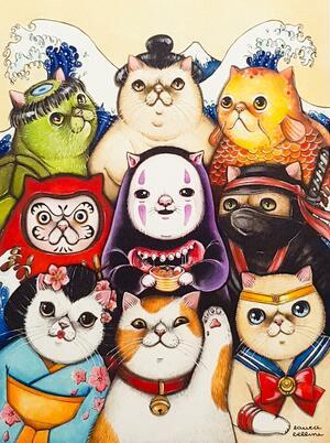 Stampa gatti giapponesi