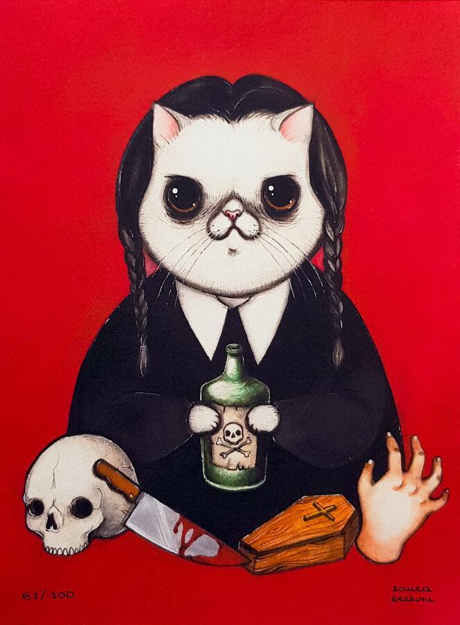 Stampa gatta Mercoledì Addams