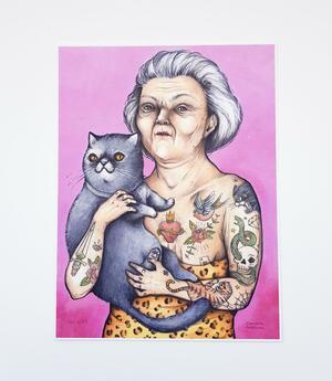 Stampa vecchia gattara tatuata