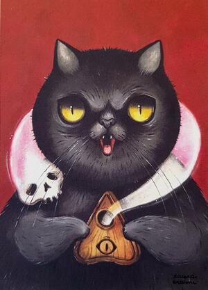 Stampa gatto nero con planchette