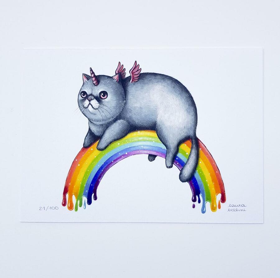 Stampa gatto unicorno rainbow