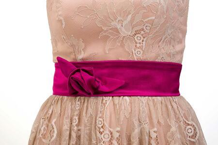 Cintura di raso con rosa - Sartoriale, fatta in Italia