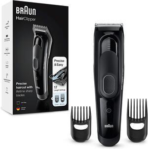 BRAUN HC5050 Tagliacapelli, Regolabarba Uomo e Rasoio Elettrico Barba con 17 Impostazioni di Lunghezza Precise e Lame Affilate di Lunga Durata