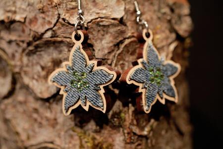 Orecchini stella alpina denim
