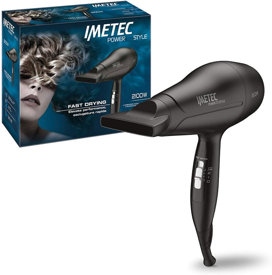 IMETEC Power To Style S8 2100 Asciugacapelli, 2100 W, Extra Performance, con Beccuccio Direzionabile, Funzione Fast Drying per un'Asciugatura Rapida, 3 Combinazioni Aria/Temperatura