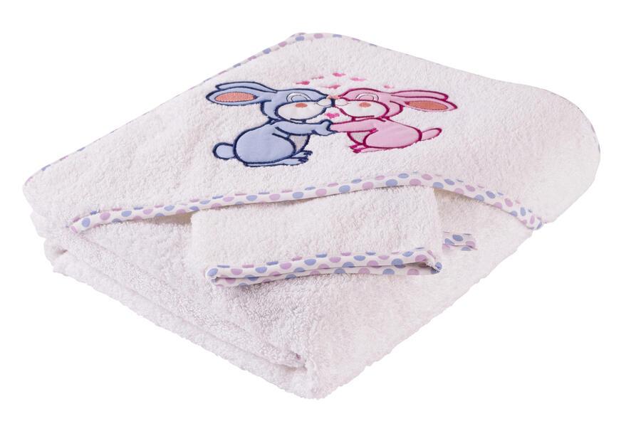 Asciugamano Neonato Cotone Naturale con Cappuccio Triangolo  0/6 Anni Bianco e Guanto Spugna