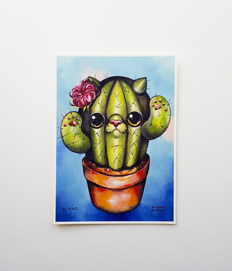 Stampa gatto cactus