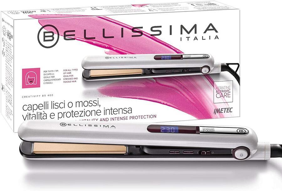 IMETEC Bellissima Creativity B9 400 Piastra per Capelli, Styling Liscio o Mosso, Rivestimento in Ceramica e Cheratina, Piastre Arrotondate