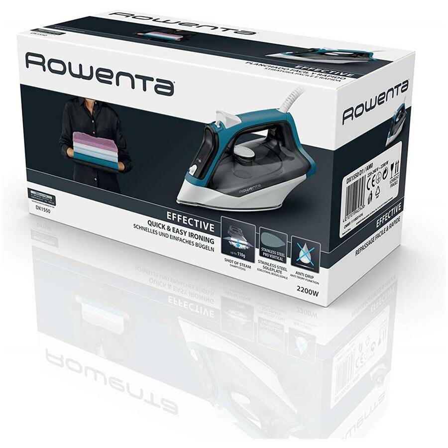 ROWENTA Ferro da Stiro a Secco e a Vapore Effective 2 DX1550 Capacità 0.25 Litri Potenza 2200 Watt Colore Nero / Blu