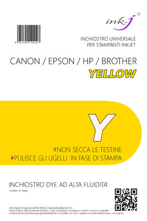 INCHIOSTRO UNIVERSALE DYE DA 500 ML. YELLOW  PER CANON-EPSON-HP-BROTHER