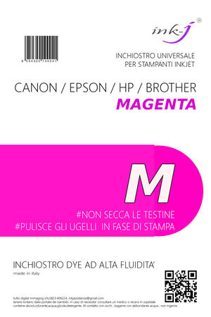 INCHIOSTRO UNIVERSALE DYE DA 250 ML. MAGENTA   PER CANON-EPSON-HP-BROTHER