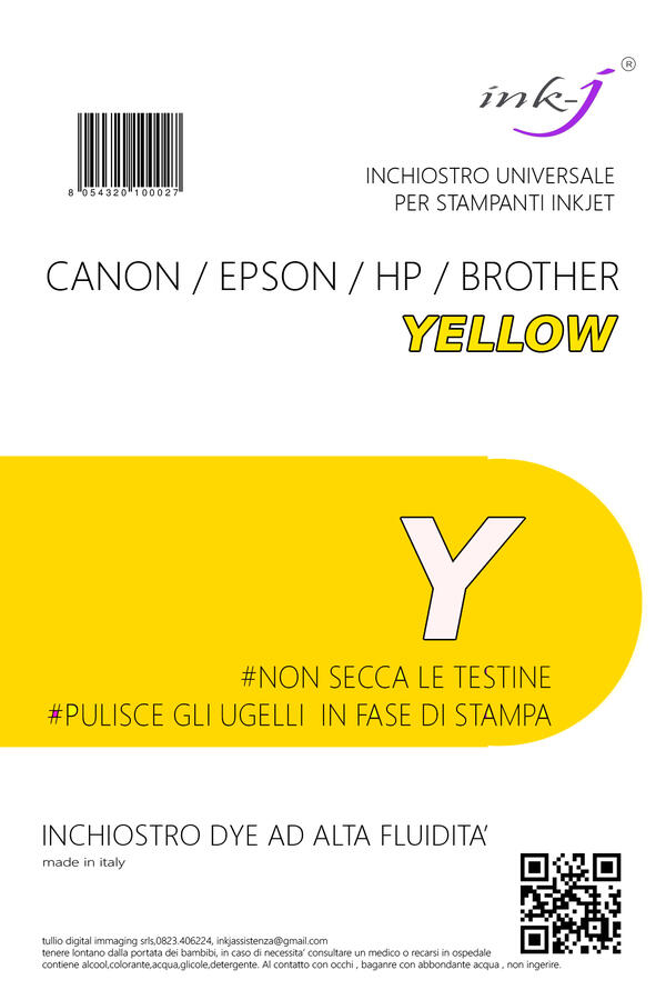 INCHIOSTRO UNIVERSALE DYE DA 250 ML. YELLOW  PER CANON-EPSON-HP-BROTHER