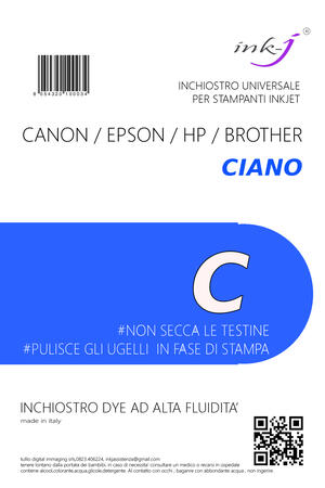 INCHIOSTRO UNIVERSALE DYE DA 250 ML. CIANO  PER CANON-EPSON-HP-BROTHER
