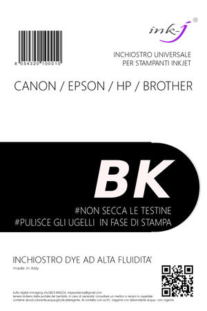 INCHIOSTRO UNIVERSALE DYE DA 250 ML. BLACK PER CANON-EPSON-HP-BROTHER