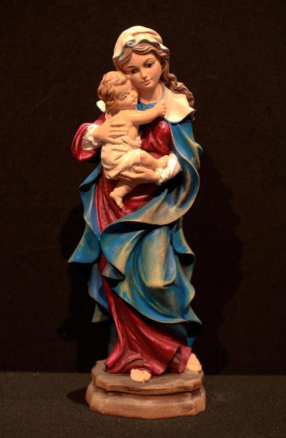 Madonna con bambino dipinta 20cm