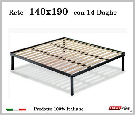 Rete per materasso a 14 doghe in faggio VIENNA 140x190 cm. 100% Made in  Italy