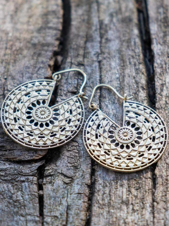 Round brass earrings, geometric mandala