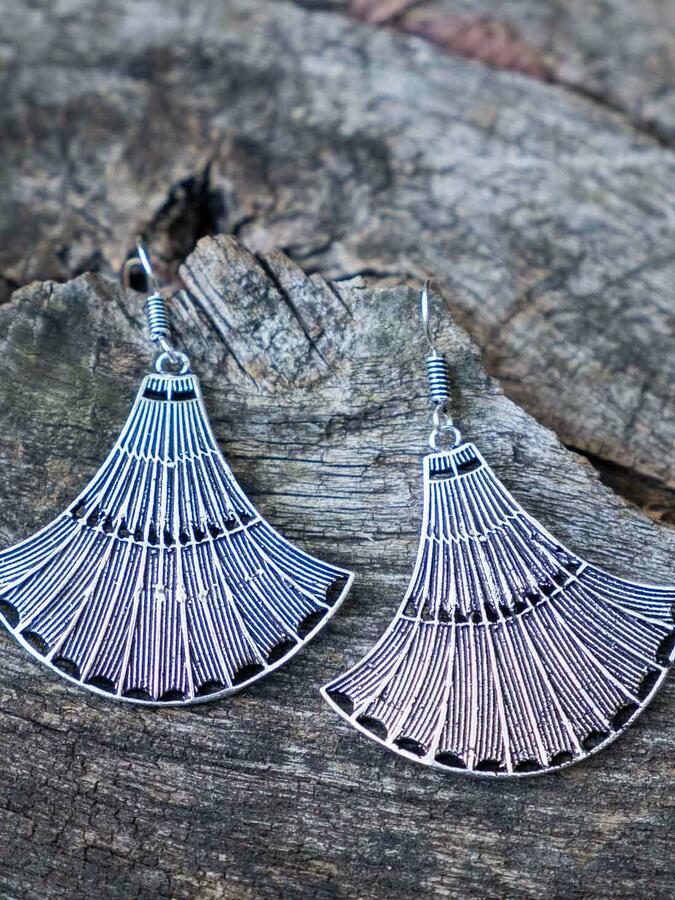 Silver-plated bell earrings