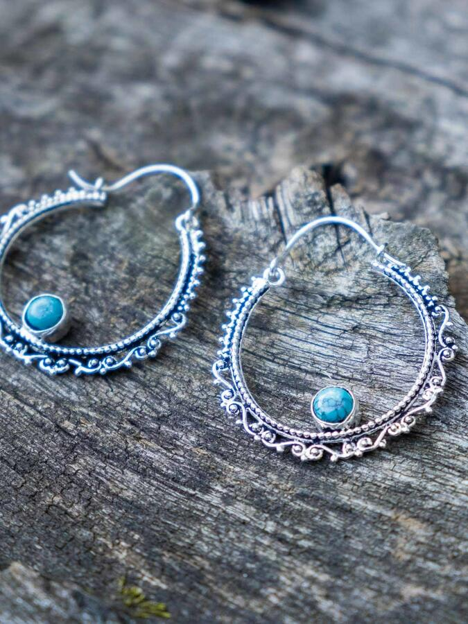 Silver-plated ring earrings with ethnic pattern and Turquoise stone