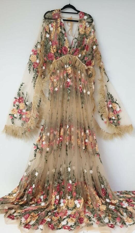FLORA BOHO FEATHERS SLEEVES DRESS