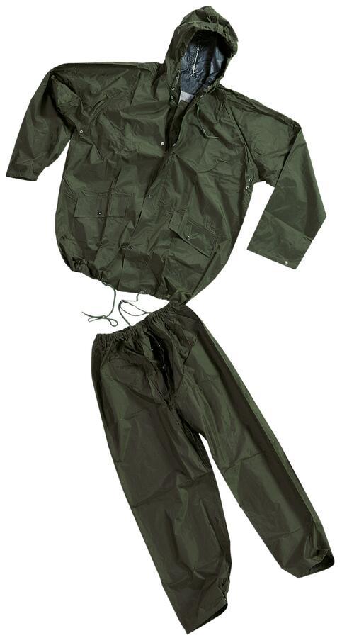 Completo impermeabile giacca e pantaloni nylon e p.v.c., misure  L - XL - XXL