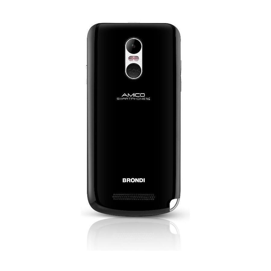 "BRONDI Amico Smartphone 4G Nero 8 GB Dual Sim Display 5"" HD Slot Micro SD Fotocamera 5 Mpx Android"
