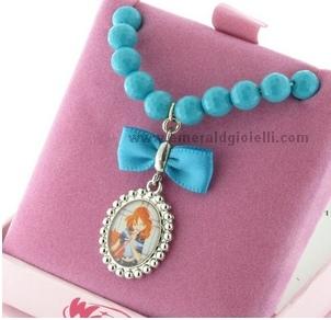 WBR1061M13 Bracciale con perle turchese Winx