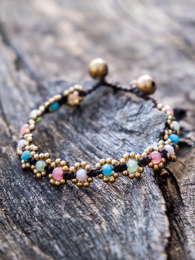 Braccialetto a fiorellini con chiusura a cappio - pietre miste