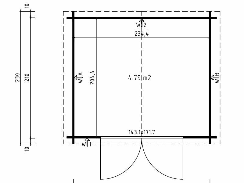 Casetta in legno di abete nordico 2,60 m x 2,30 m - Mod. Erika - 28 mm ,senza pavimento