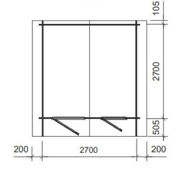 Casetta in legno 2,90 m x 2,90 m - Mod. Cristiana - 28 mm , senza pavimento