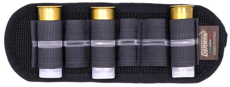 Porta cartucce da cintura nero, 6 celle elastiche