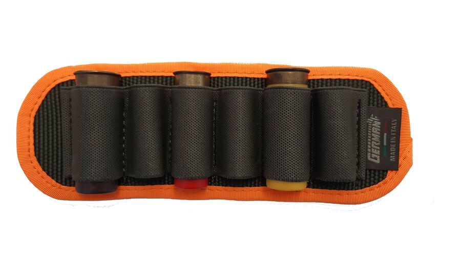Porta cartucce da cintura, 6 celle elastiche, con bordatura arancio fluo