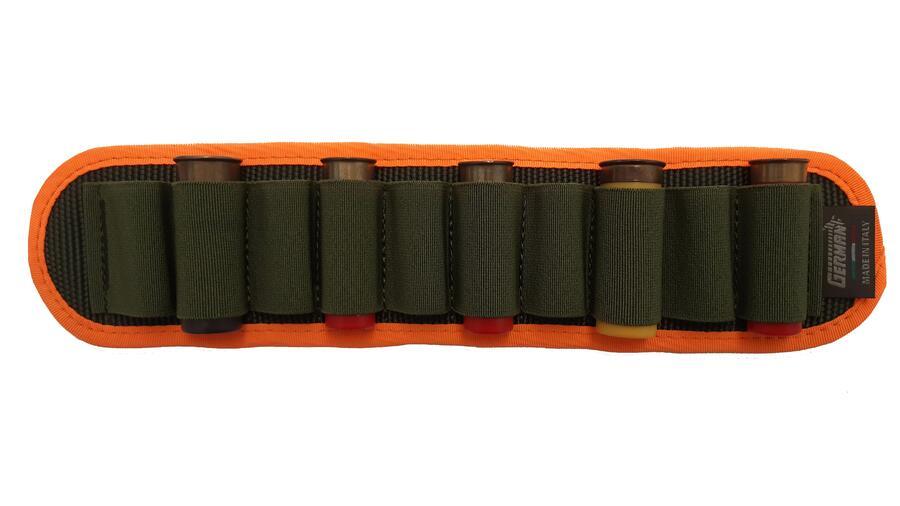 Porta cartucce da cintura, 10 celle elastiche, con bordatura arancio fluo