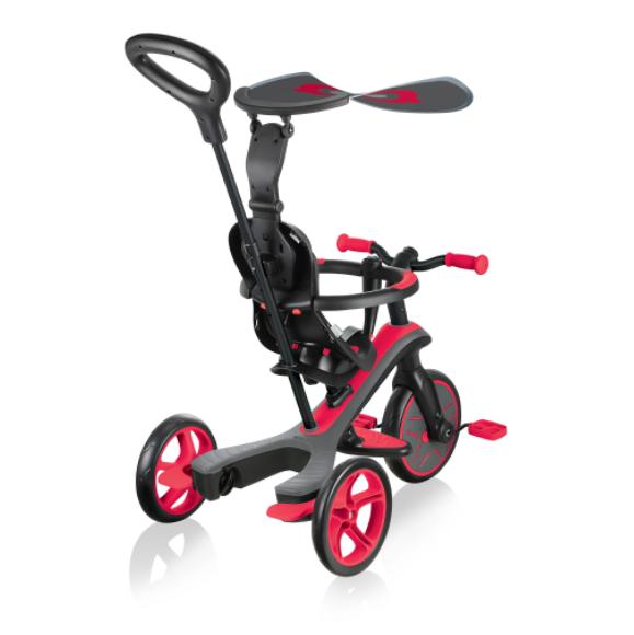 Triciclo, Monopattino con Seduta e Balance Bike per bambini EXPLORER TRIKE 4 in 1 Rosso di Globber