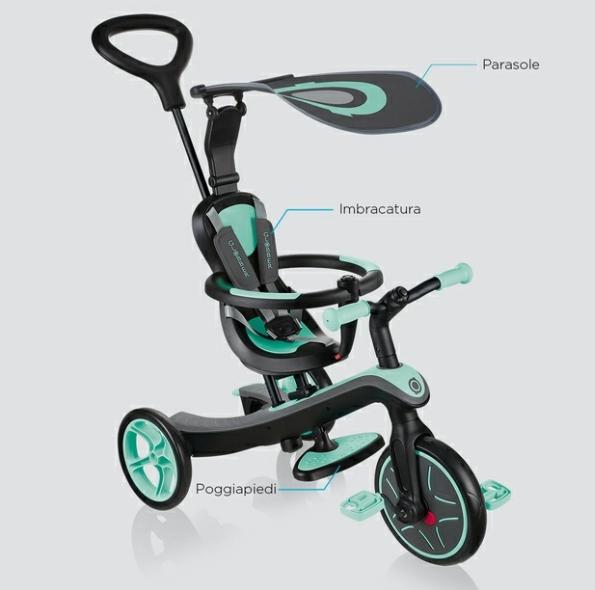 Triciclo, Monopattino con Seduta e Balance Bike per bambini EXPLORER TRIKE 4 in 1 di Globber, Vari Colori