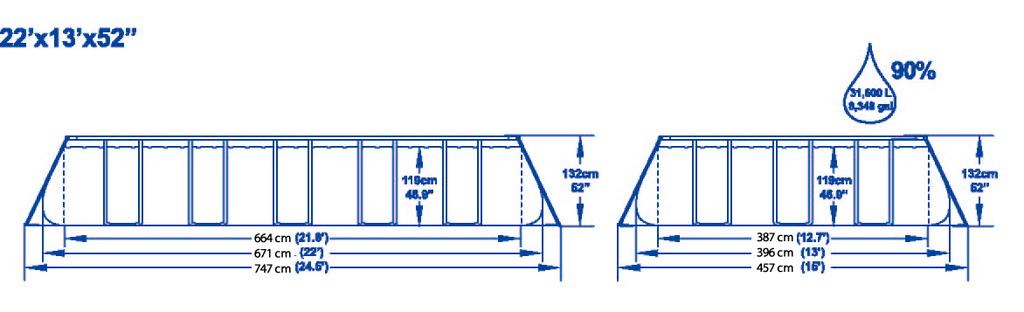 Piscina Bestway 56272 Ultra frame rettangolare 671x 366x 132 h con pompa cartuccia