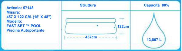 Piscina Bestway autoportante 57148 Fast Set Pool 457x 122 cm con scaletta ed accessori
