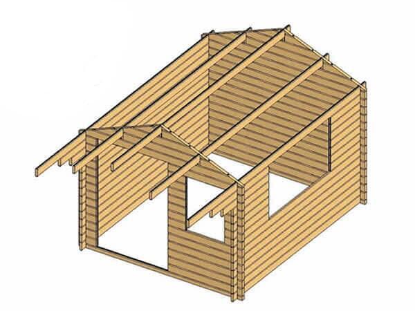 Casetta in legno 3,00 m x 4,00 m - Mod. Zoe  - 44 mm