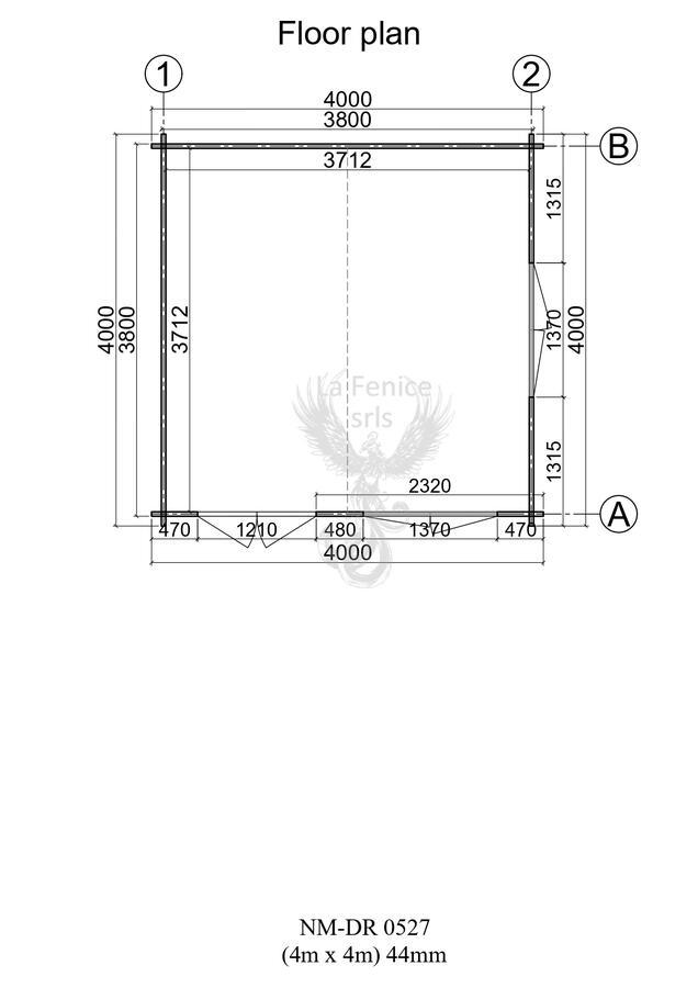 Casettainlegno 4,00 m x 4,00 m - Mod. Zoe - 44 mm