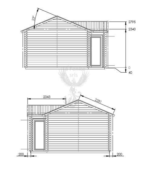 Casetta in legno 5,70 m x 4,00 m - Mod. Deborah  - 44 mm