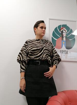 FELPA MANICHE OVER zebrato